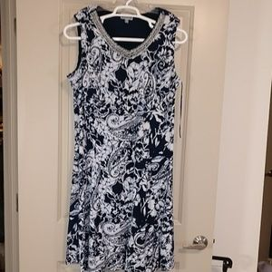 JM Collection blue and white fit and flare dress